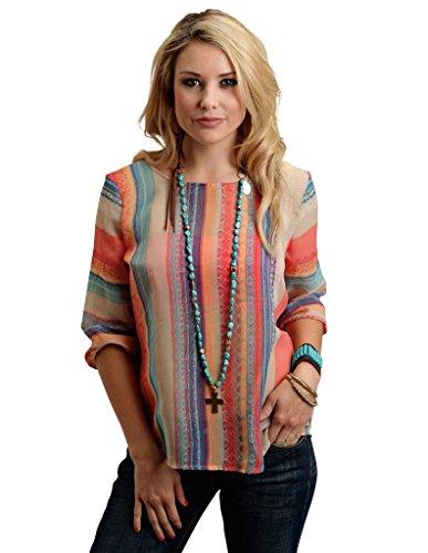 00863cf5068 Stetson Women s Aztec Stripe Chiffon 3 4 Sleeve Woven Top Red Blouse ( Stetson Stripe