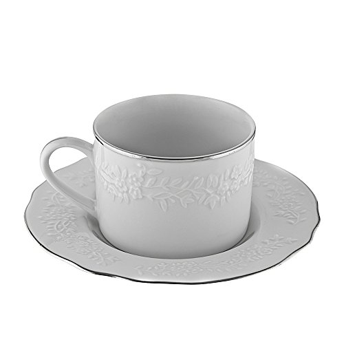 10 Strawberry Street Vine Silver Cup and Saucer (Set of 6) VINE-9SL6