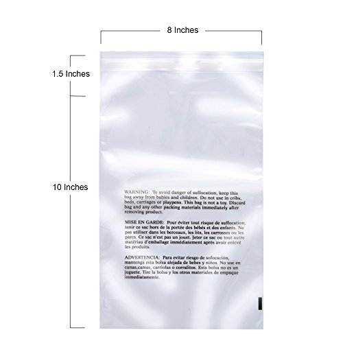 Retail Supply Co Clear Poly Bags with Suffocation Warning - Multiple Size Options Available - (8x10 (Resealable Polypropylene Bags)