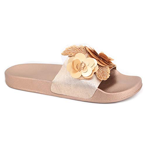 Naimo Women's Sparkly Slippers Sequin Flower Applique Flip-Flops Flat Slides Sandals Rose Gold ()