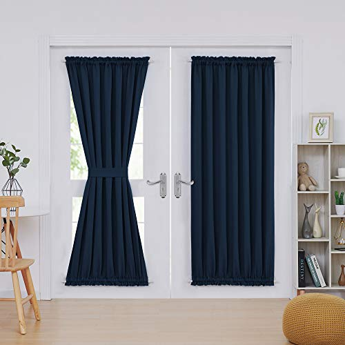 Deconovo Navy Blue Blackout Door Curtains Room Darkening Rod Pocket Blackout Window Curtains for Living Room 52x72 Inch 2 Panels (Door Rod Pocket Curtain Panel)