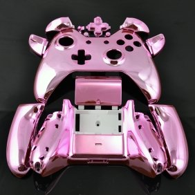 Pink Chrome Xbox One Controller Shell Full Assembly Housing (includes front plate, back plate, side bars, D-pad, Bumpers, and Triggers) Hydrodipped wood grain