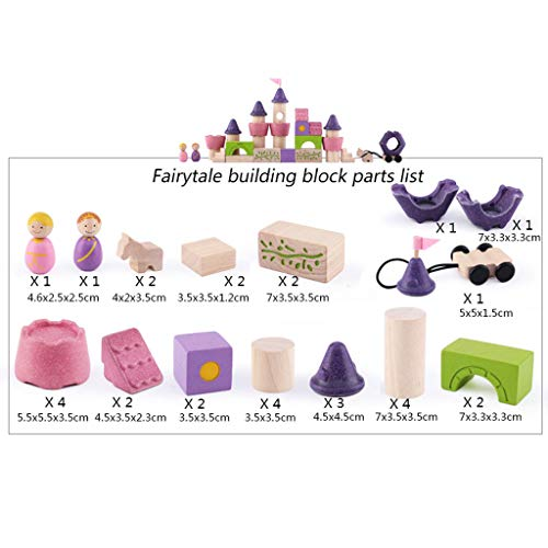 HXGL-Toys Wooden Toy Fairy Tale Castle Children's Gift Early Education Puzzle 3-6 Prince Princess (Color : Pink) by HXGL-Toys (Image #6)
