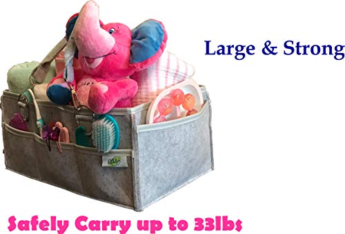 Diaper Caddy Organizer (Blue) -Baby Diaper Storage for Changing Table-Multipurpose Large Storage Caddy-Water Resistant Lining-Baby Diaper Holder-Portable Tote for Moms- Diaper Nursery basket.