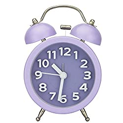 Pilife 3 No-ticking Mute Quartz Analog Clock Loud Double Bell Bedside Table Alarm Clock,Unique 3D Numerals Design,with Night Light (Purple)