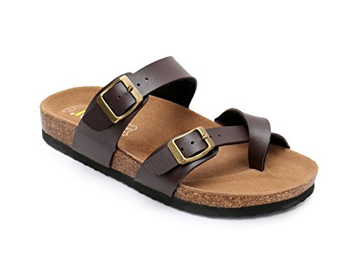 WTW Women Leather Sandals Arizona Slide Shoes (US 8, Brown) - Leather Womens Sandals