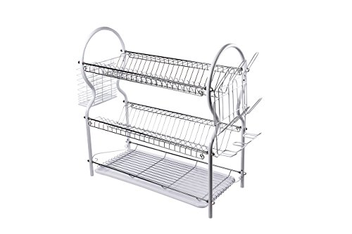 Spacesaver 3-Tier Steel Dish Rack System, White (Tier Dish Rack)