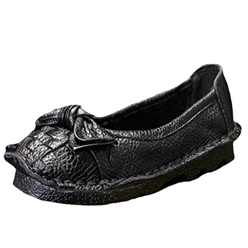 Mordenmiss Womens Trend Candy Bowknot Balletto Nastro Piatto Slip On Style 1 Nero