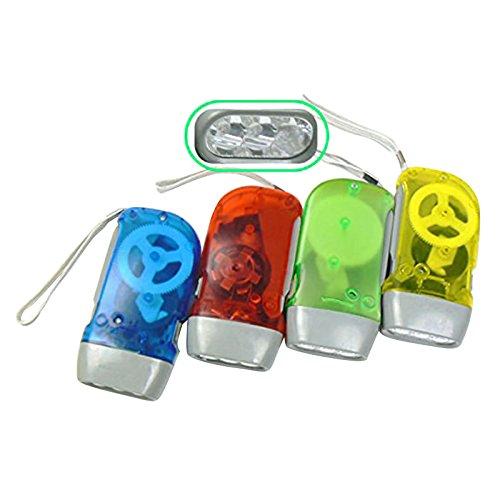 lampe de poche LED - TOOGOO(R)3 LEDs Dynamo Wind Up lampe de poche pressage a la main Manivelle Caoutchouc naturel lampe de poche sans piles