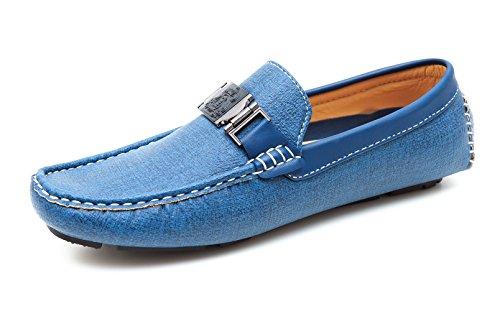 in Evoga man's eleganti scarpe azzurro ecopelle blu shoes chiaro Mocassini casual uomo vHwxvqtr