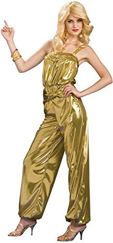 Rubie's Costume Solid Diva Jumpsuit, Gold, One Size Costume - Gold 70s Dress