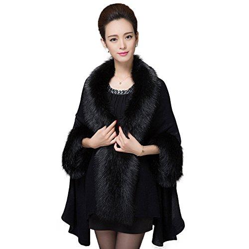 a5b0df4a478d8 Caracilia Women s Winter Shawl Cloak Cape Coat with Warm Faux Fur Black at Amazon  Women s Coats Shop