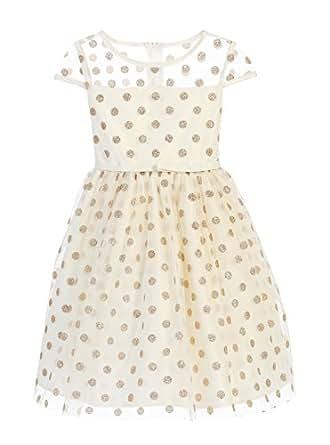 92d22e6d843c Amazon.com: Sweet Kids Glitter Polka Dot Mesh Girls' Holiday Dress ...