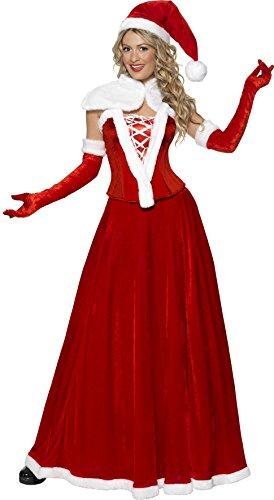 Miss Santa Baby Costumes (Smiffy's Women's Luxury Miss Santa Costume, Hat, Cape, Corset, Skirt & Gloves,)