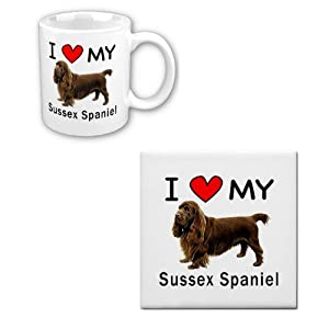 I Love My Sussex Spaniel Coffee Cup With Matching Tile Set 11