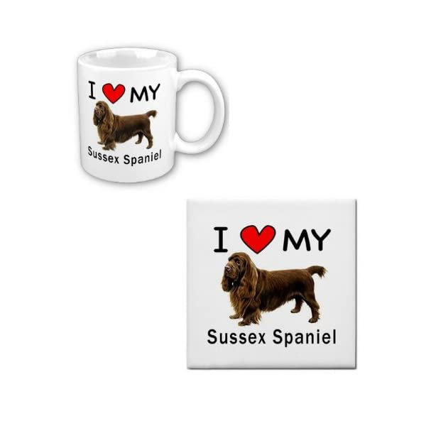 I Love My Sussex Spaniel Coffee Cup With Matching Tile Set 1
