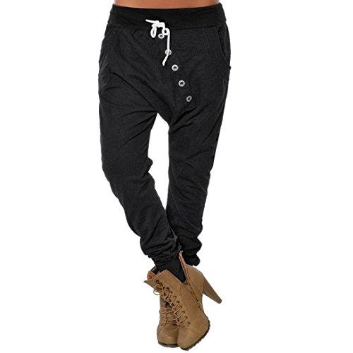 CICIYONER Botón de Mujer Hipsters Harem Pantalones Deportivos Bloomers Pantalones de Cintura Alta Pantalones Negro