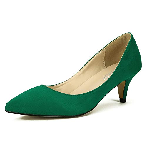Green Leather Pumps - MAIERNISI JESSI Women's Classic Slip On Pointed Toe Kitten Heel Dress Pumps Shoes Green 40 - US 8