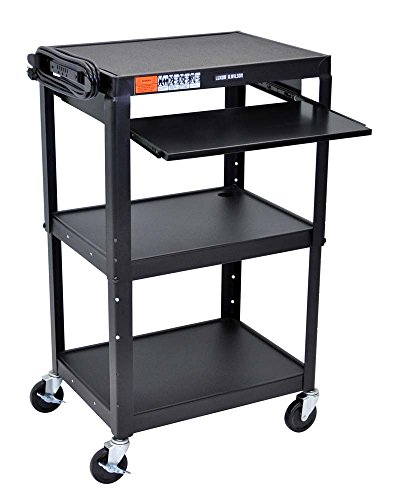 - Luxor 3 Shelves Adjustable Height Multipurpose Steel A/V Utility Cart with Pullout Tray - Black