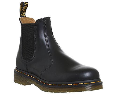 Dr. Martens Unisex 2976 Yellow Stitch Smooth Chelsea Boots, Black Leather, 6 M UK, M7/W8 M US