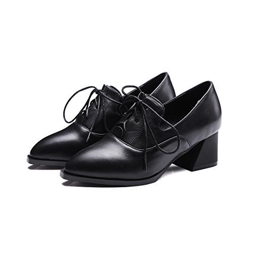 Oxfords Show Shoes Up Womens Lacing Heel Casual Black Shine Mid A08w0nrq4T