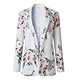 Abetteric Womens Spring Trendy Slim Fit Jacket Coat Floral Small Blazer White M