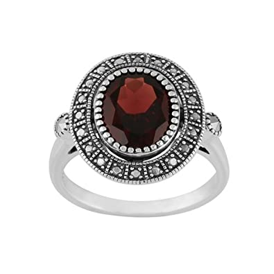 Sterling Silver 2.50ct Garnet Marcasite Antique Style Cluster Ring