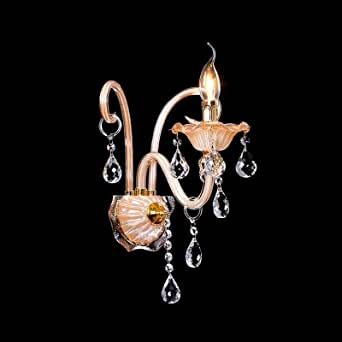hua Grraceful Scrolling Arms and Crystal Drops Creates Stunning Single Light Wall Sconce