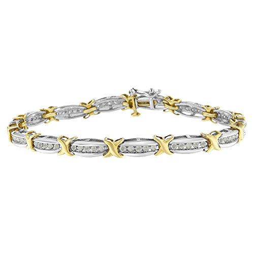 (Original Classics Two-Tone Gold Plated Sterling Silver 1ct TDW Diamond X-Link Bracelet (I-J,)