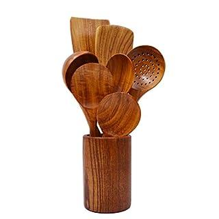 Wooden Spatula Set 8 Pcs Natural Teak Kitchen Cooking Utensil Wooden Spoon