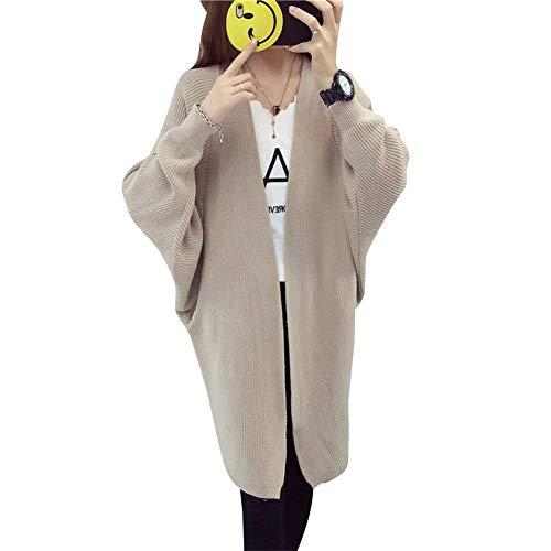 Fit Abrigo Slim Khaki De De Largos Otoño Casual Fashion Abrigos Mangas Tejido Punto Moda Joven Chaqueta Murciélago Chaqueta Cardigan Mujer Elegantes Unicolor Primavera nBPaTpT8