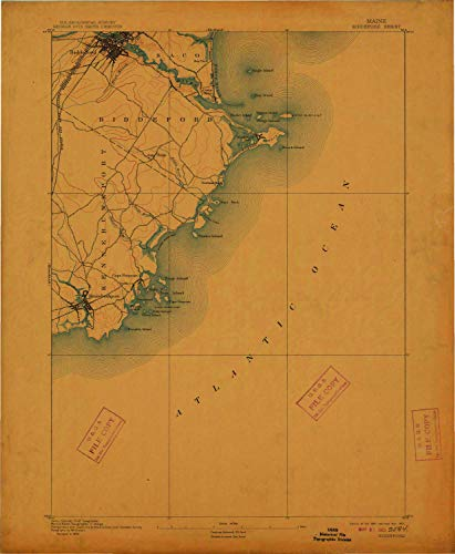 YellowMaps Biddeford ME topo map, 1:62500 Scale, 15 X 15 Minute, Historical, 1893, Updated 1912, 20 x 16.4 in - Paper ()