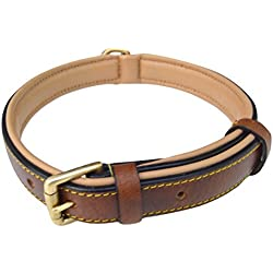 Soft Touch Collars Padded Leather Dog Collar Brown, Slimline Edition, Size Large