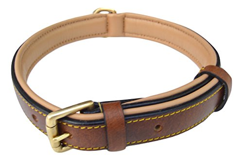 Soft Touch Collars Padded Leather Dog Collar, Slimline Edition - Large, Brown - Real Leather Dog