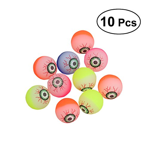 TOYMYTOY 10pcs 32mm Halloween Scary Eye Balls,Glow in The Dark Bouncy Balls Toys Party Favors for Kids (Random Color) ()
