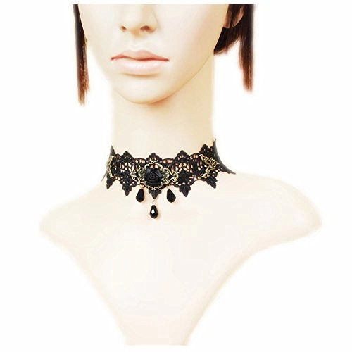 Black Rose Bead Popular Girl Gothic Lolita Black Lace Collar Choker ()