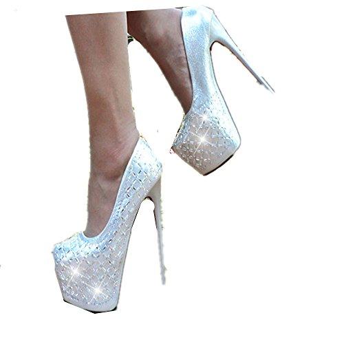 Luistamaton Quality Alustan Sandaalit Hopea a Korkokengät Naisten Strassit CPAxfwPq
