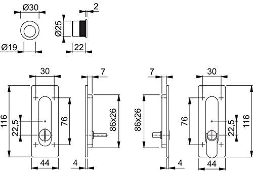 Hoppe 3390260 Puerta Corredera Juego M464 – sin cerradura, cuadradas roseta WC, cromado mate: Amazon.es: Bricolaje y herramientas