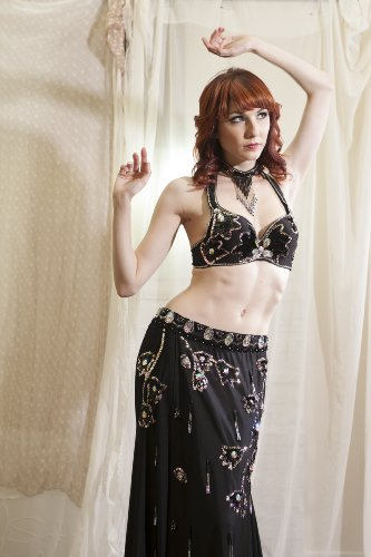 Belly Dance Bra Top & Stretchy Skirt Costume Set --Black 36A by Belly Dance Costume