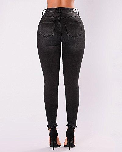 Jeans Nero Matita Pantalone Donna Alta Strappati Lunghi Leggings Elastico Vita Pantaloni Denim Skinny qA15vn4wA