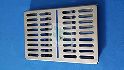 """French Steel Autoclave Dental Surgical Sterilization Cassette 7"""" X 5"""" X 0.75"""" Tray Rack For 10 Instruments (hti Brand)"""