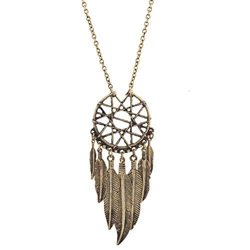 Lux Accessories Burnish Gold Tone Cased Feather Dreamcatcher Pendant Necklace