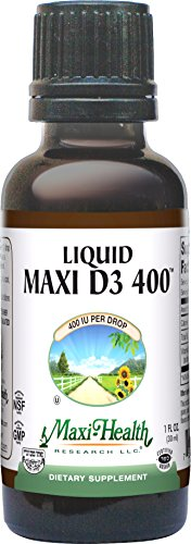 Maxi Health Liquid Vitamin D3 - 400 IU - with Olive Oil - 1 Fluid Ounce Bottle - Kosher (Pack of 12) by Maxi-Health