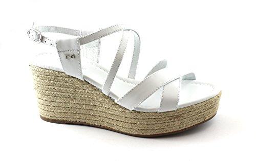 Femme Nero Blanc 5881 en Boucle Corde Cuir Chaussures Sandales Giardini Bianco Wedge FSFrqw0