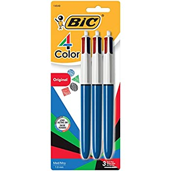 BIC 4-Color Ball Pen, Medium Point (1.0mm), Assorted Ink, 3-Count