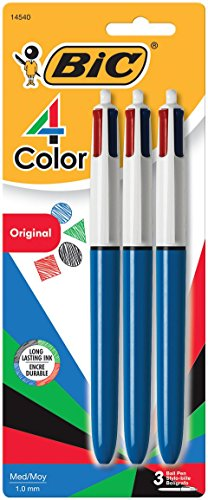 BIC 4-Color Ball Pen, Medium Point (1.0mm), Assorted Ink, 3-Count (Point Medium Ball)