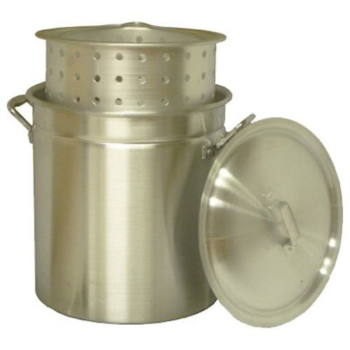Pot Kooker King - King Kooker KK60R Aluminum Pot with Basket and Lid, 60-Quart