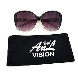 AnL Vision Triple Glitter Heart Temple Sunglasses (Brown/Clear, Gradient Brown)