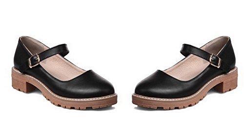 VogueZone009 Women's Pu Low-Heels Round-Toe Soild Pull-On Pumps-Shoes, Black, 33