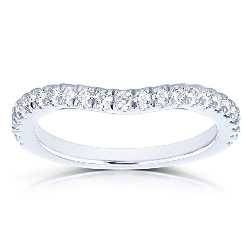 (Diamond Curved Wedding Band 1/3 CTW in 14k White Gold, 9)